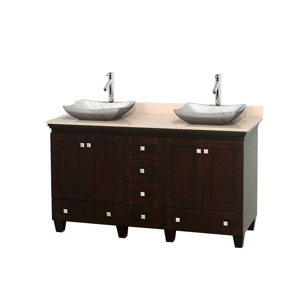 Acclaim 60-inch W Double Vanity in Espresso with Top in Ivory and White Carrara Sinks