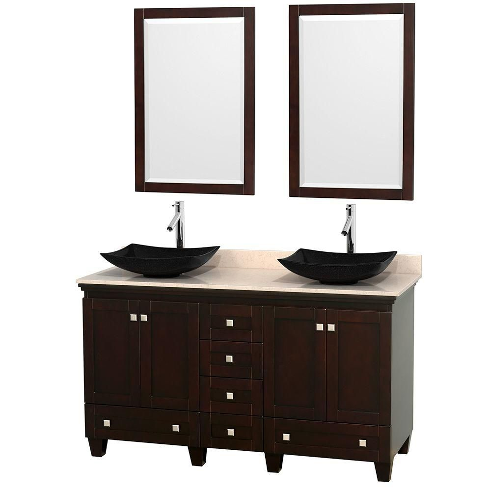 Acclaim 60-inch W Double Vanity in Espresso with Top in Ivory, Black Sinks and Mirrors