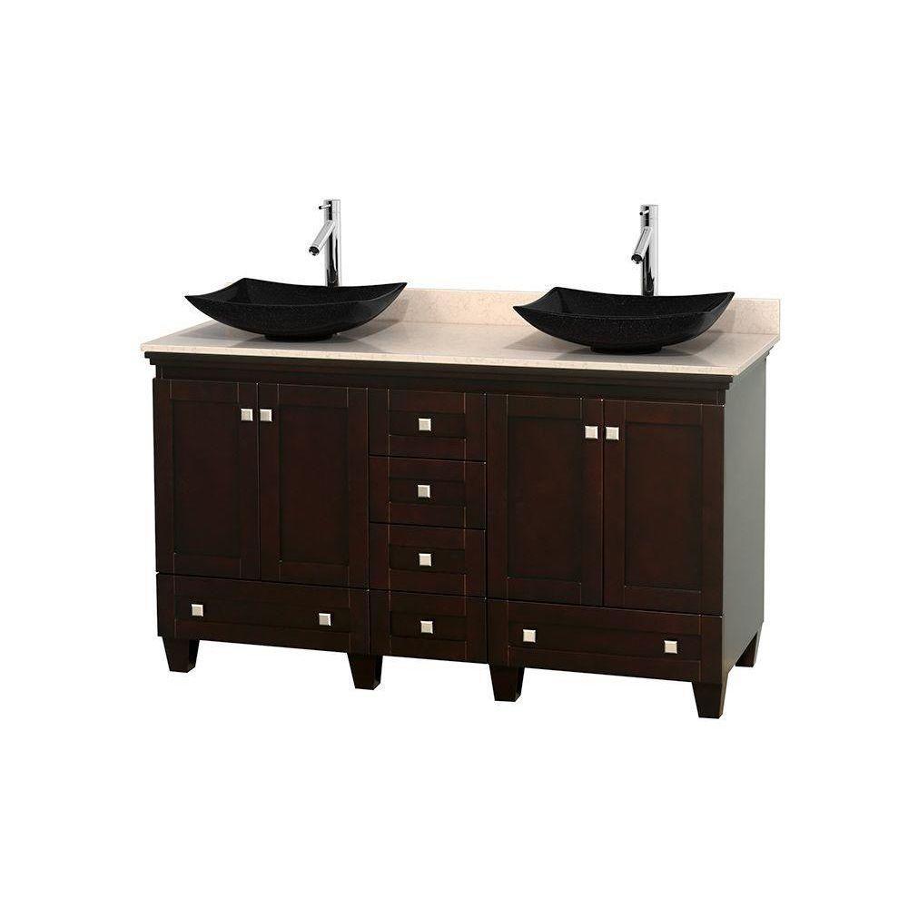Acclaim 60 po Meuble dbl. espresso et revêtement ivoire, éviers noirs et sans miroir