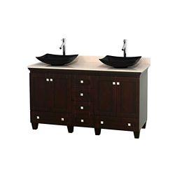 Wyndham Collection Acclaim 60 po Meuble dbl. espresso et revêtement ivoire, éviers noirs et sans miroir