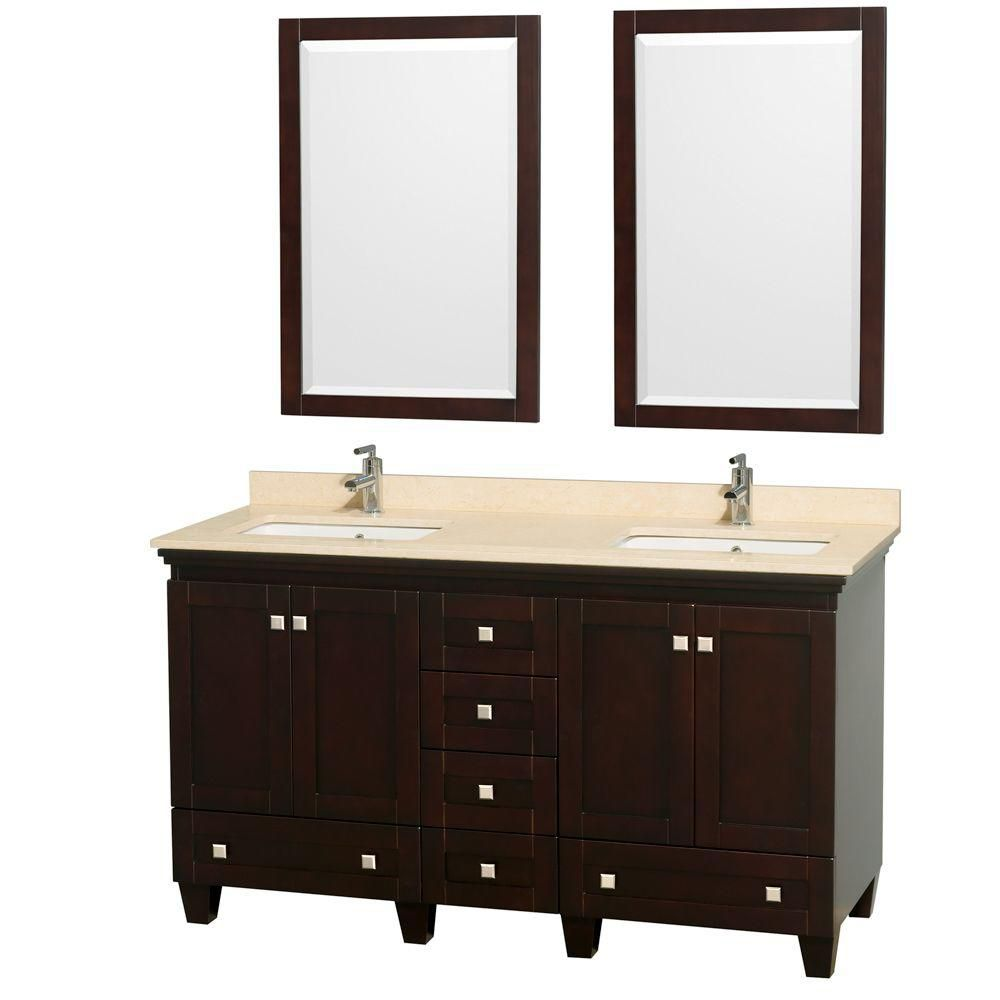 Acclaim 60-inch W Double Vanity in Espresso with Top in Ivory, Square Sinks and Mirrors