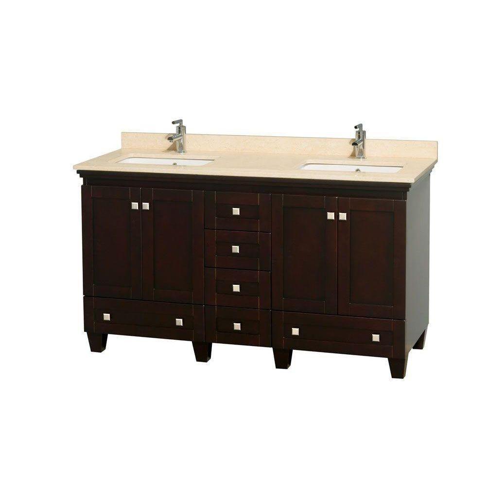 Acclaim 60 po Meuble dbl. espresso et revêtement ivoire, éviers carrés et sans miroir