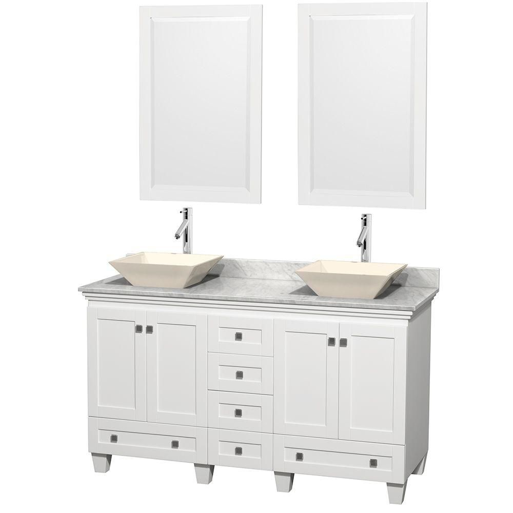 Wyndham Collection Acclaim 60-inch W 6-Drawer 4-Door Vanity in White With Marble Top in White, 2 Basins With Mirror