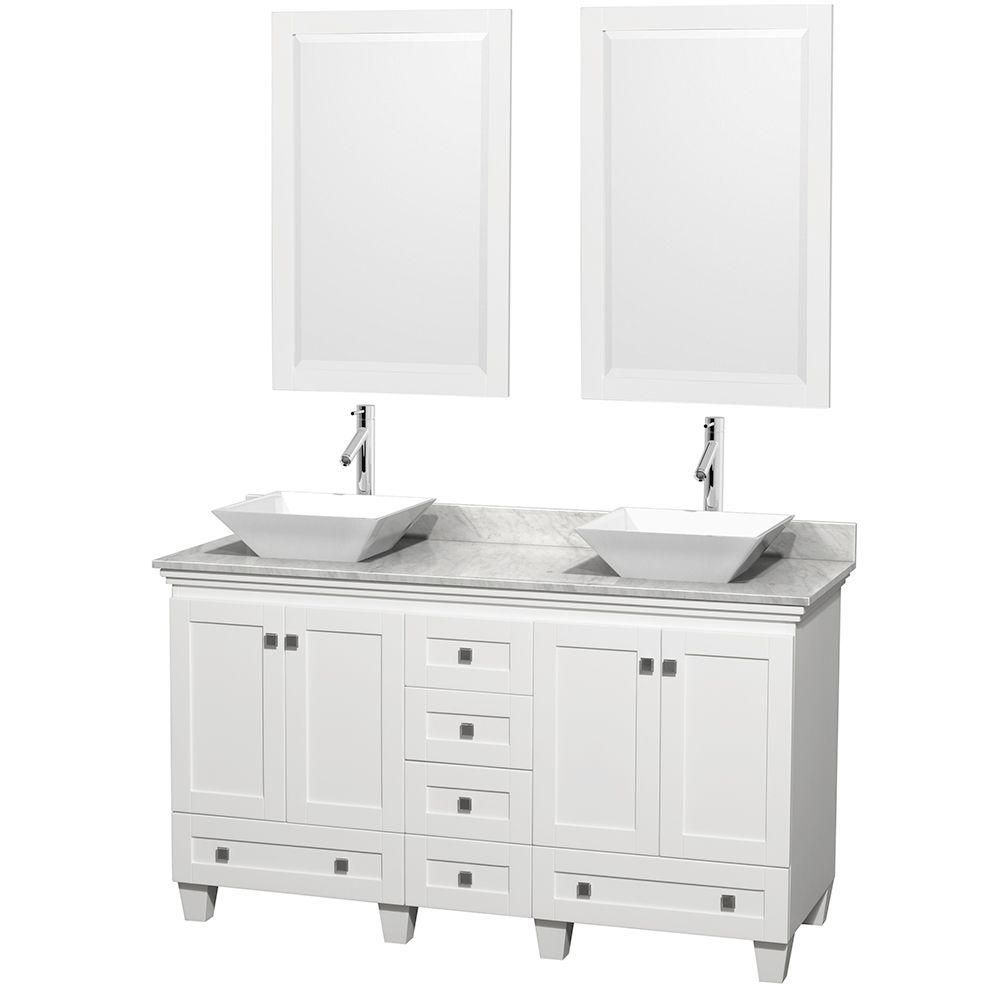 Acclaim 60-inch W Double Vanity in White with Top in Carrara White, White Sinks and Mirrors