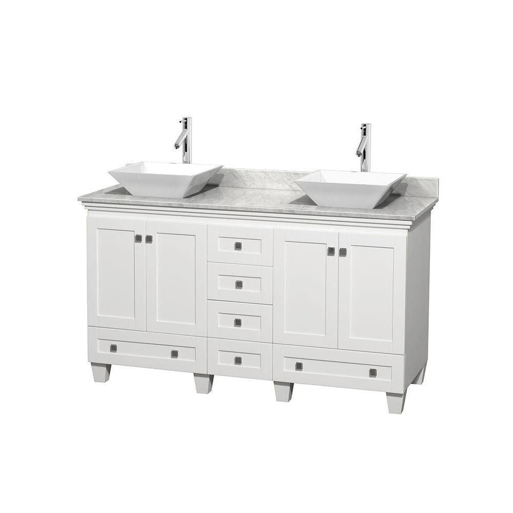 Acclaim 60-inch W Double Vanity in White with Top in Carrara White and White Sinks