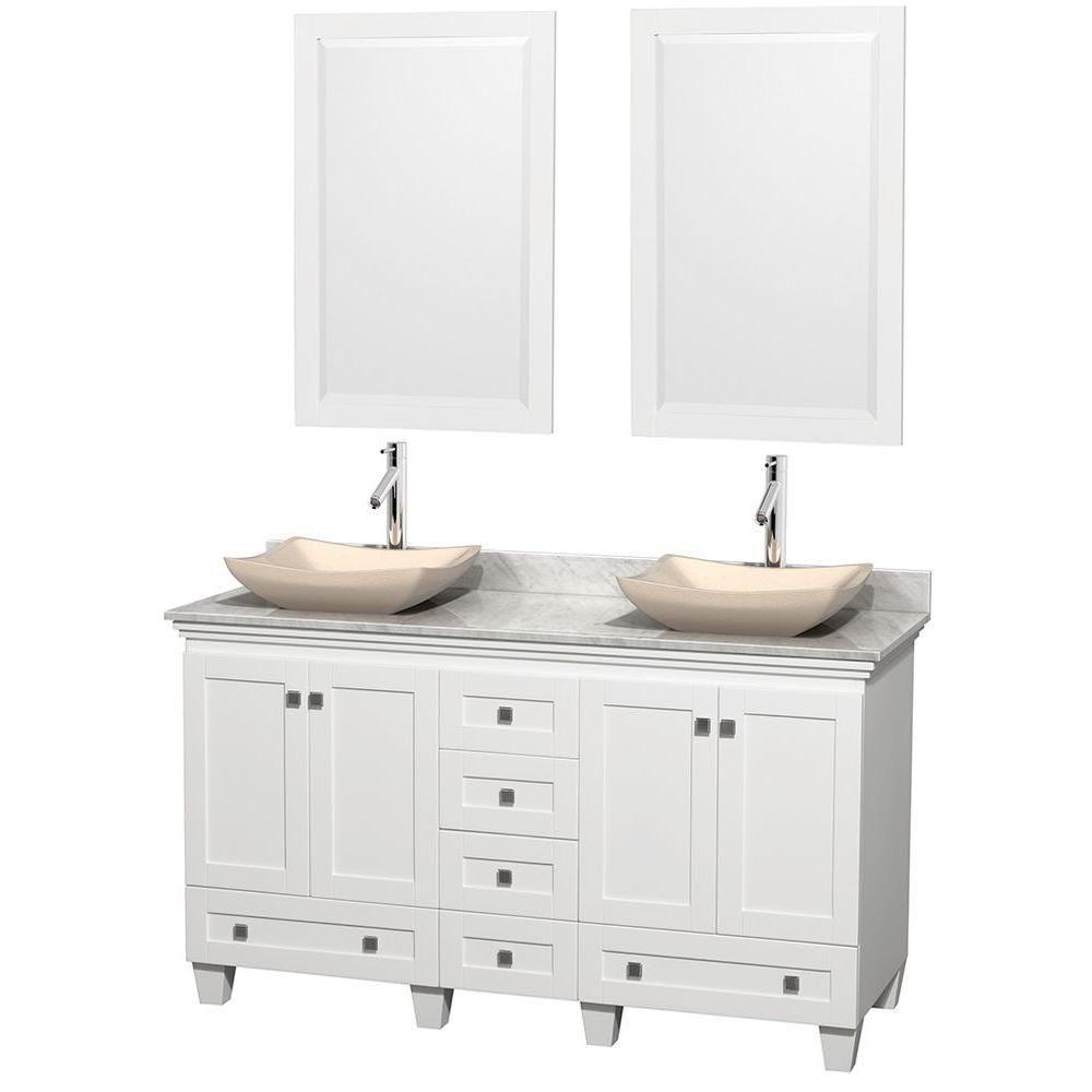Acclaim 60-inch W Double Vanity in White with Top in Carrara White, Ivory Sinks and Mirrors
