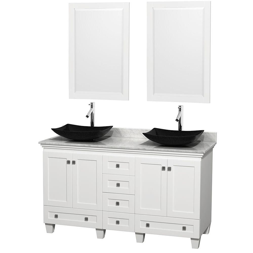 Acclaim 60-inch W Double Vanity in White with Top in Carrara White with Black Sinks and Mirrors
