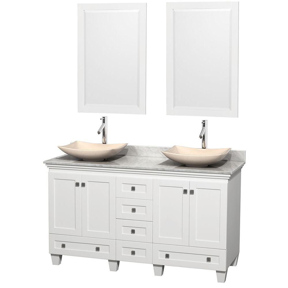 Acclaim 60 po Meuble blanc dbl. et revêtement blanc Carrare, éviers ivoire et miroirs
