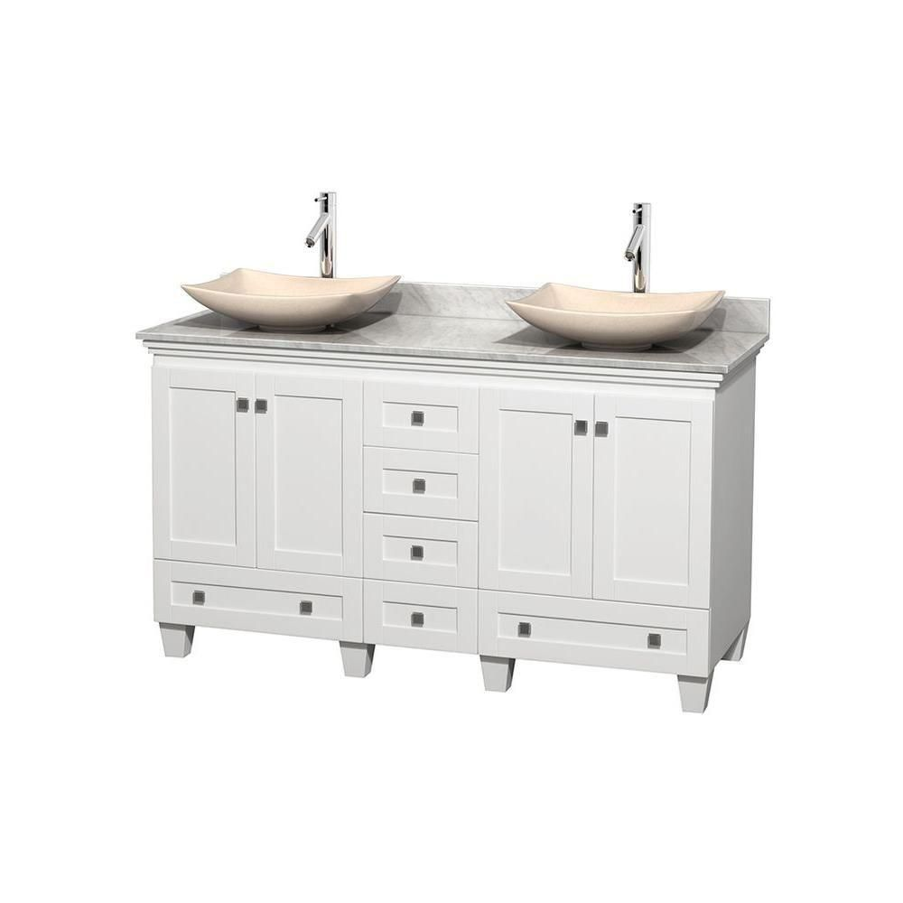 Acclaim 60-inch W Double Vanity in White with Top in Carrara White and Ivory Sinks