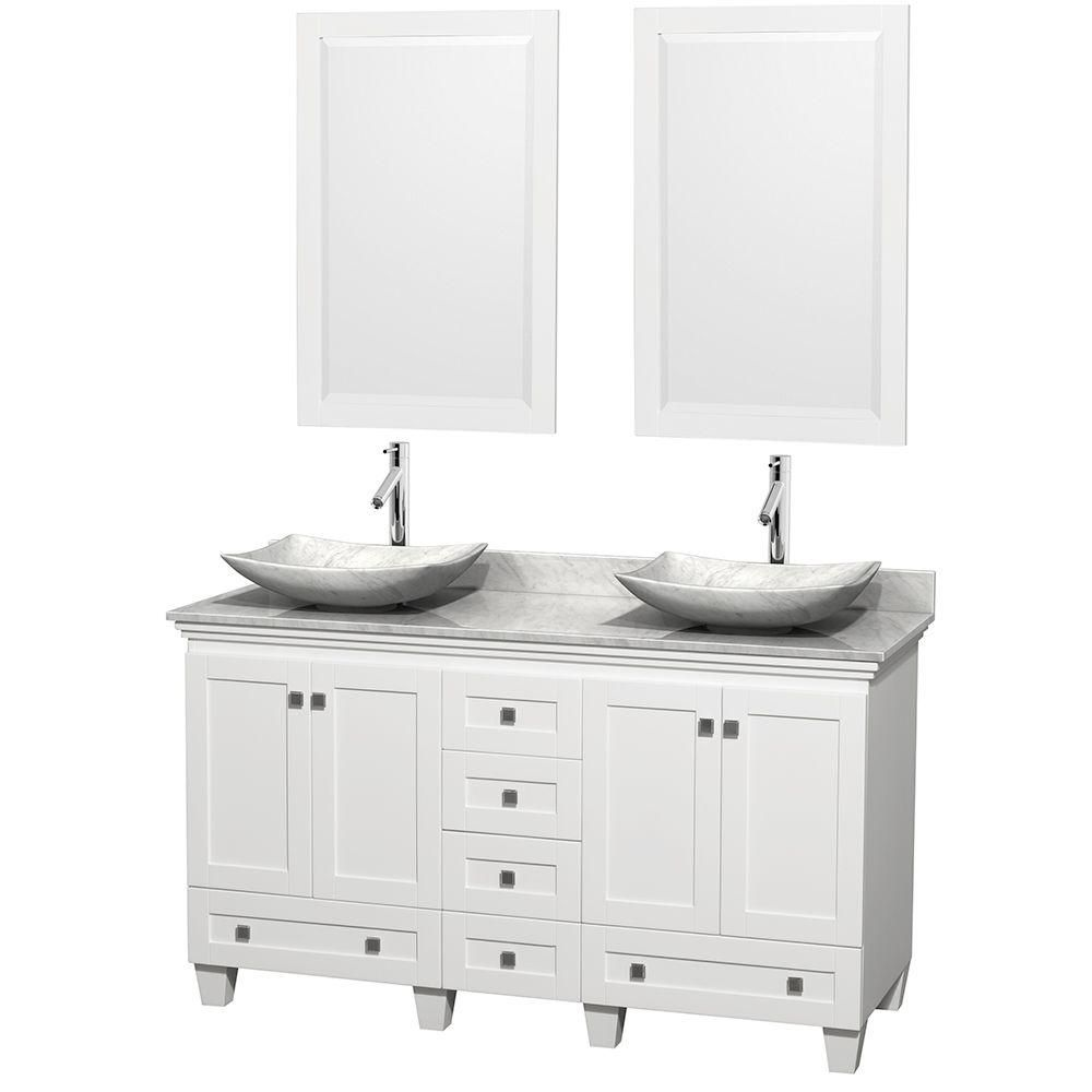 Acclaim 60-inch W Double Vanity in White with Top in Carrara White, Carrara Sinks and Mirror