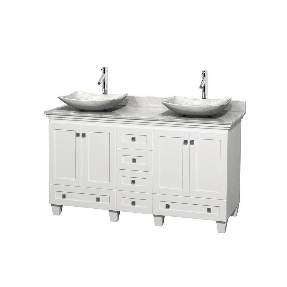 Acclaim 60-inch W Double Vanity in White with Top in Carrara White and Carrara Sinks