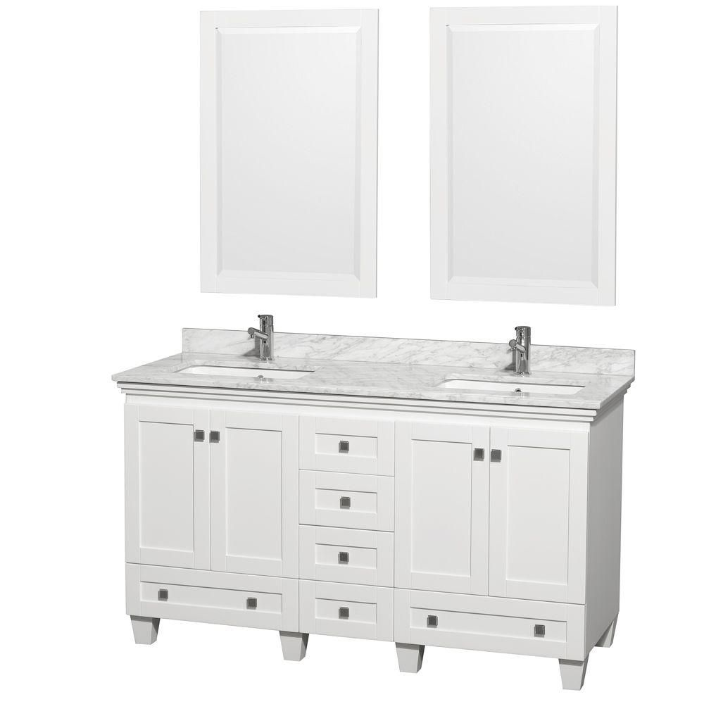 Acclaim 60-inch W Double Vanity Cabinet in White with Top in Carrara White and Mirror