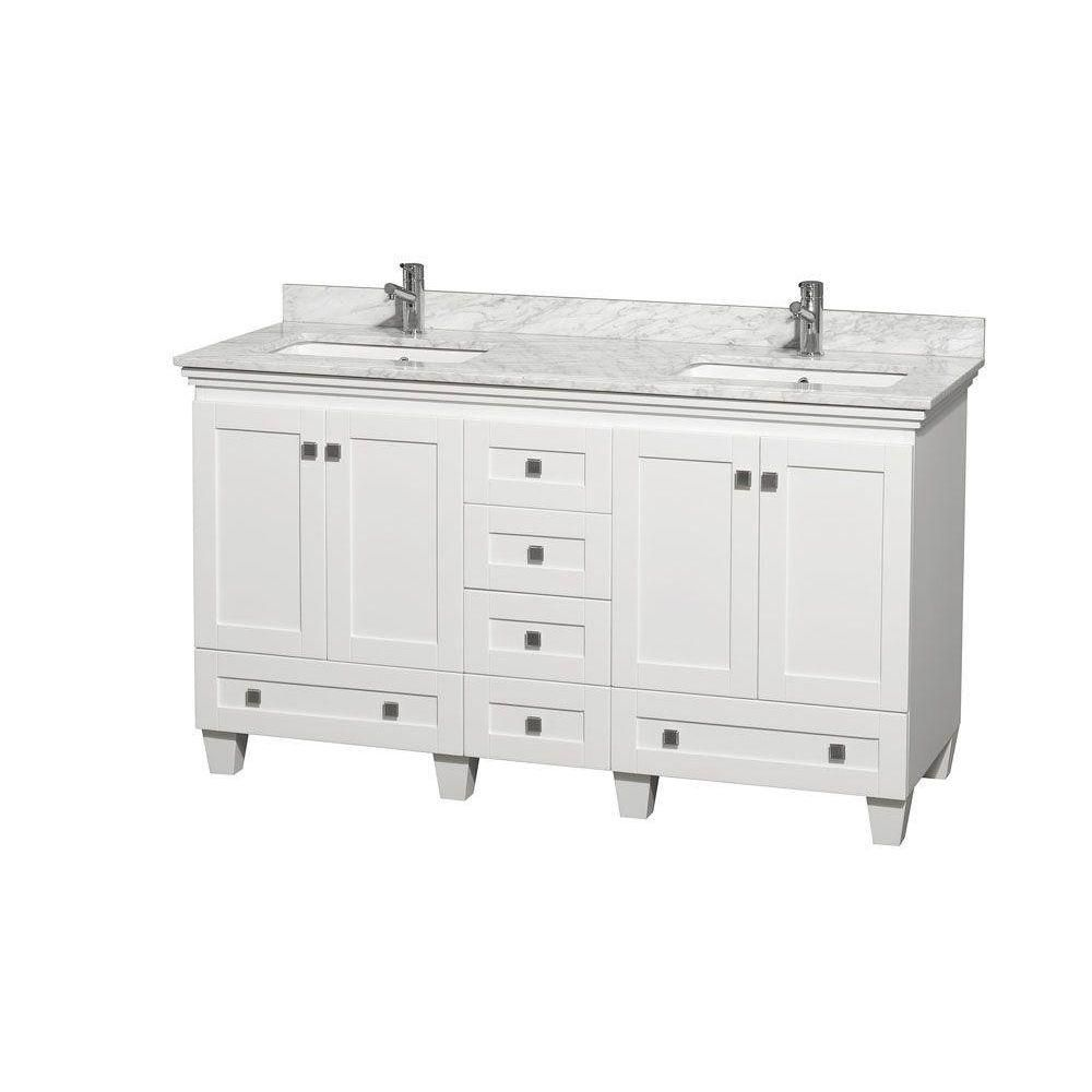 Acclaim 60-inch W Double Vanity Cabinet in White with Top in Carrara White and Square Sinks
