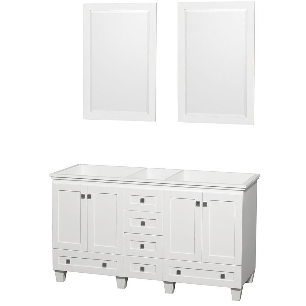 Acclaim 60-inch W Double Vanity in White Finish with Mirrors