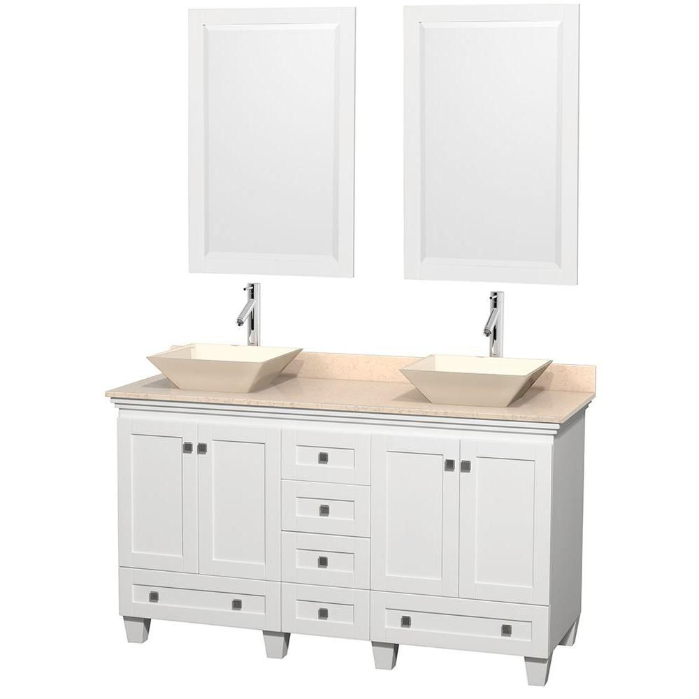 Acclaim 60-inch W Double Vanity in White with Top in Ivory, Bone Sinks and Mirrors