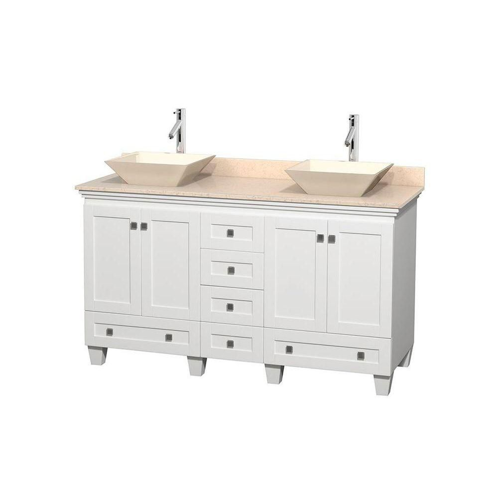 Acclaim 60-inch W Double Vanity in White with Top in Ivory and Bone Sinks