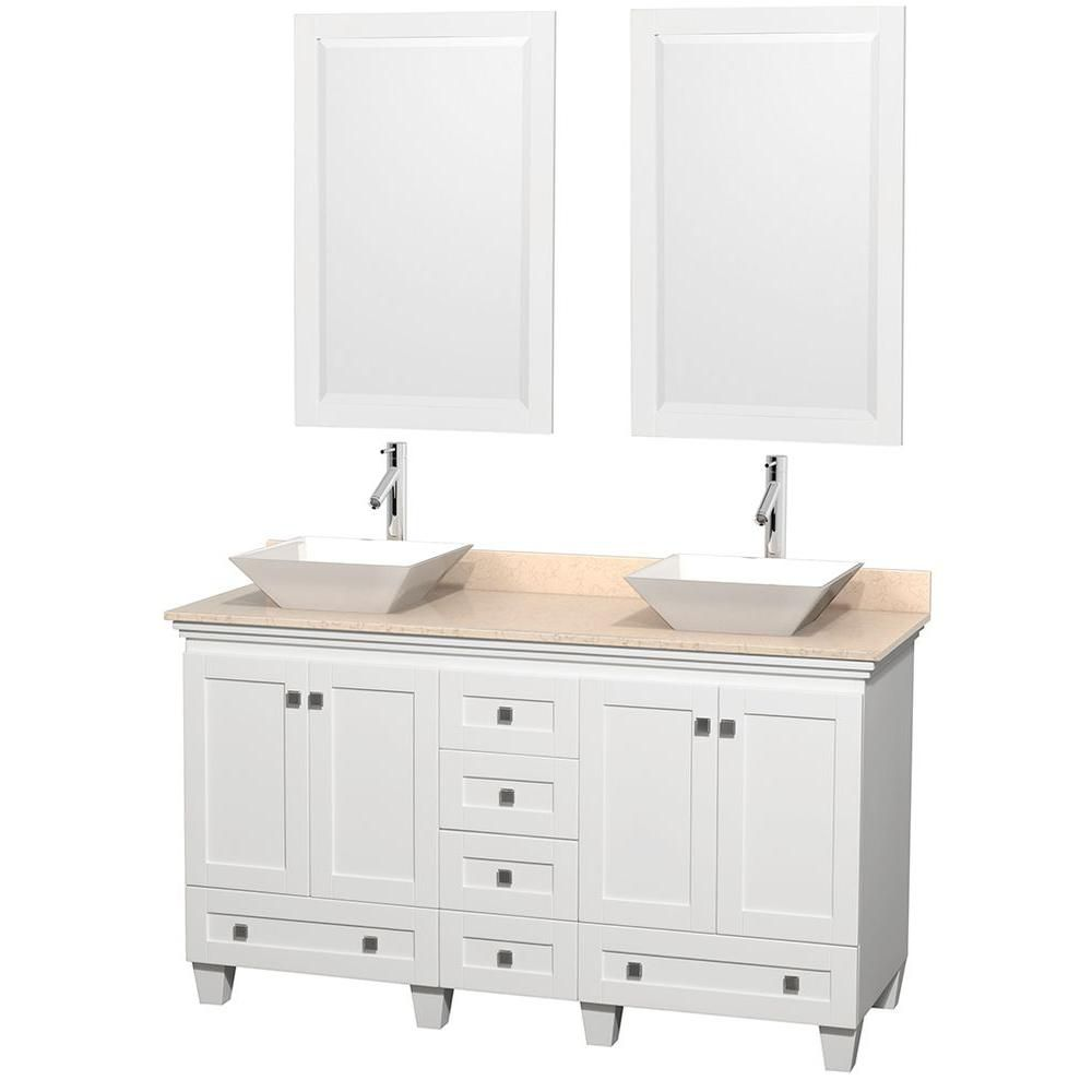 Acclaim 60-inch W Double Vanity in White with Top in Ivory, White Sinks and Mirrors