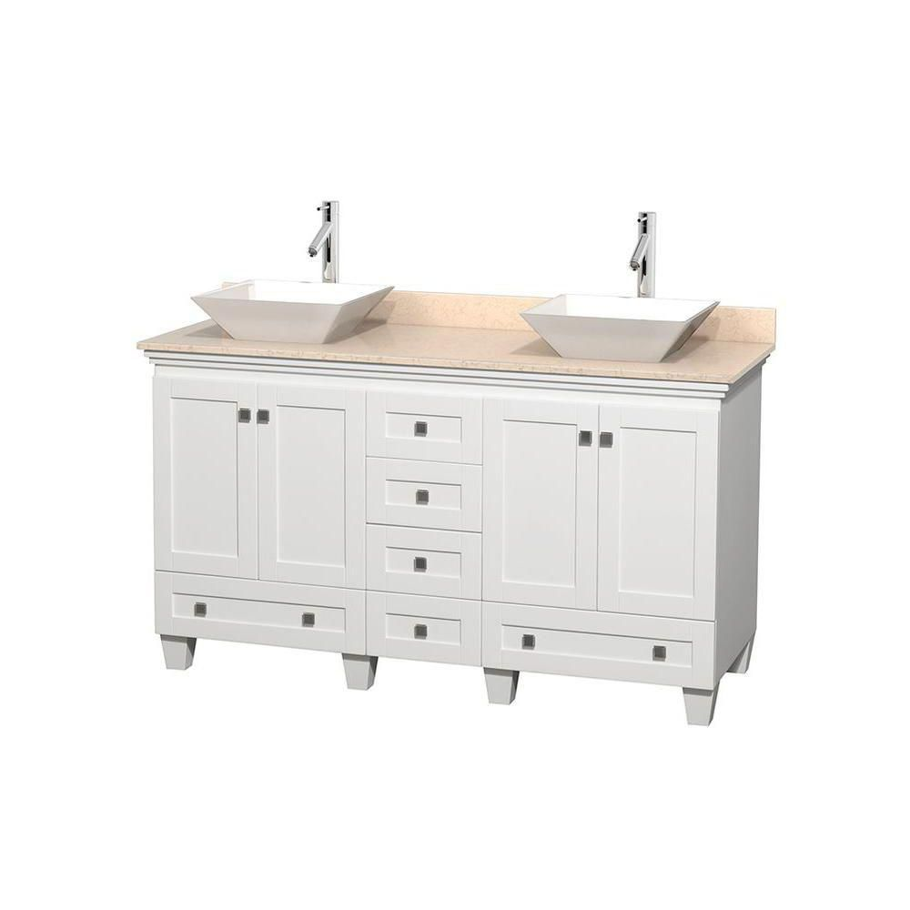 Acclaim 60-inch W Double Vanity in White with Top in Ivory and White Sinks