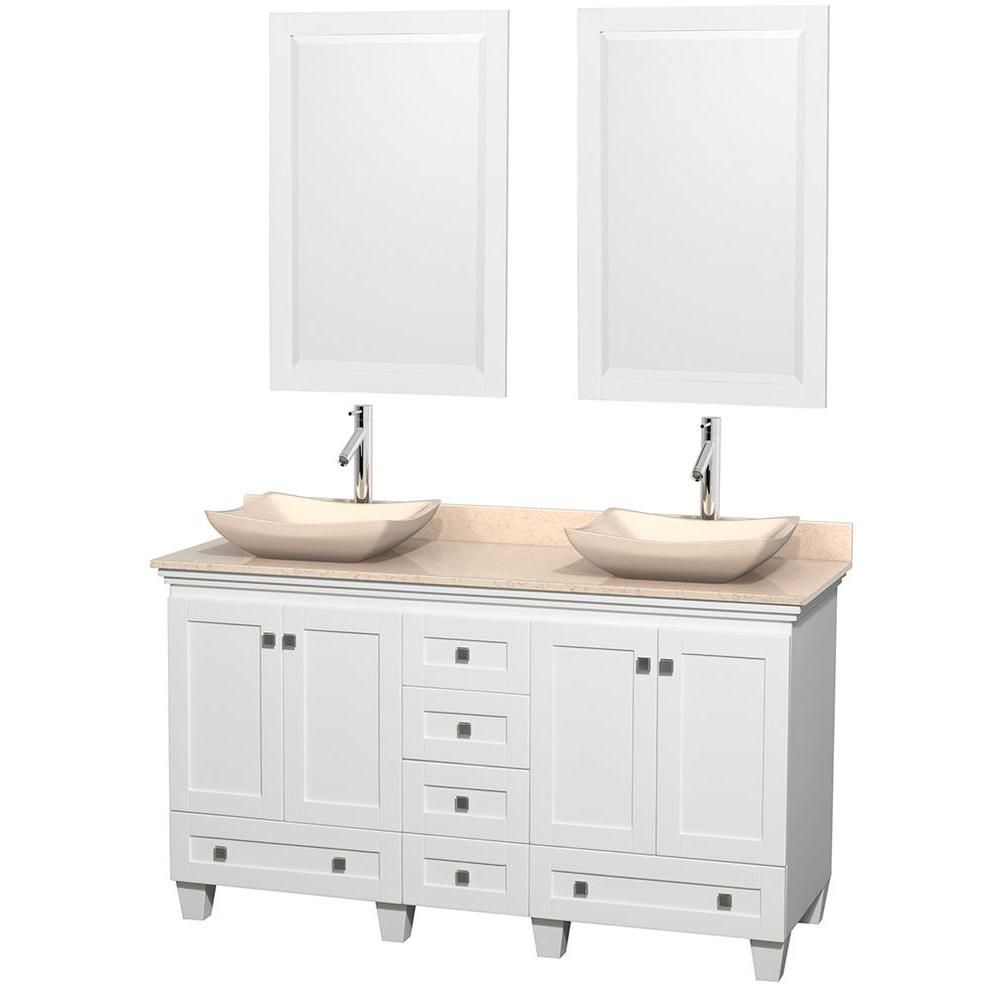Acclaim 60-inch W Double Vanity in White with Top in Ivory, Ivory Sinks and Mirrors
