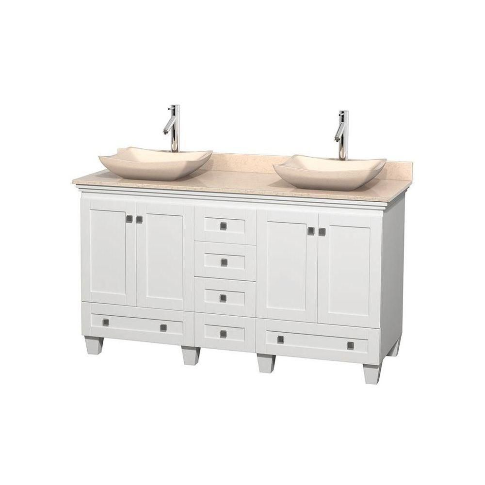 Acclaim 60-inch W Double Vanity in White with Top in Ivory and Ivory Sinks