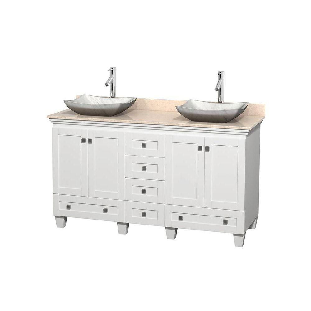 Acclaim 60-inch W Double Vanity in White with Top in Ivory and White Carrara Sinks