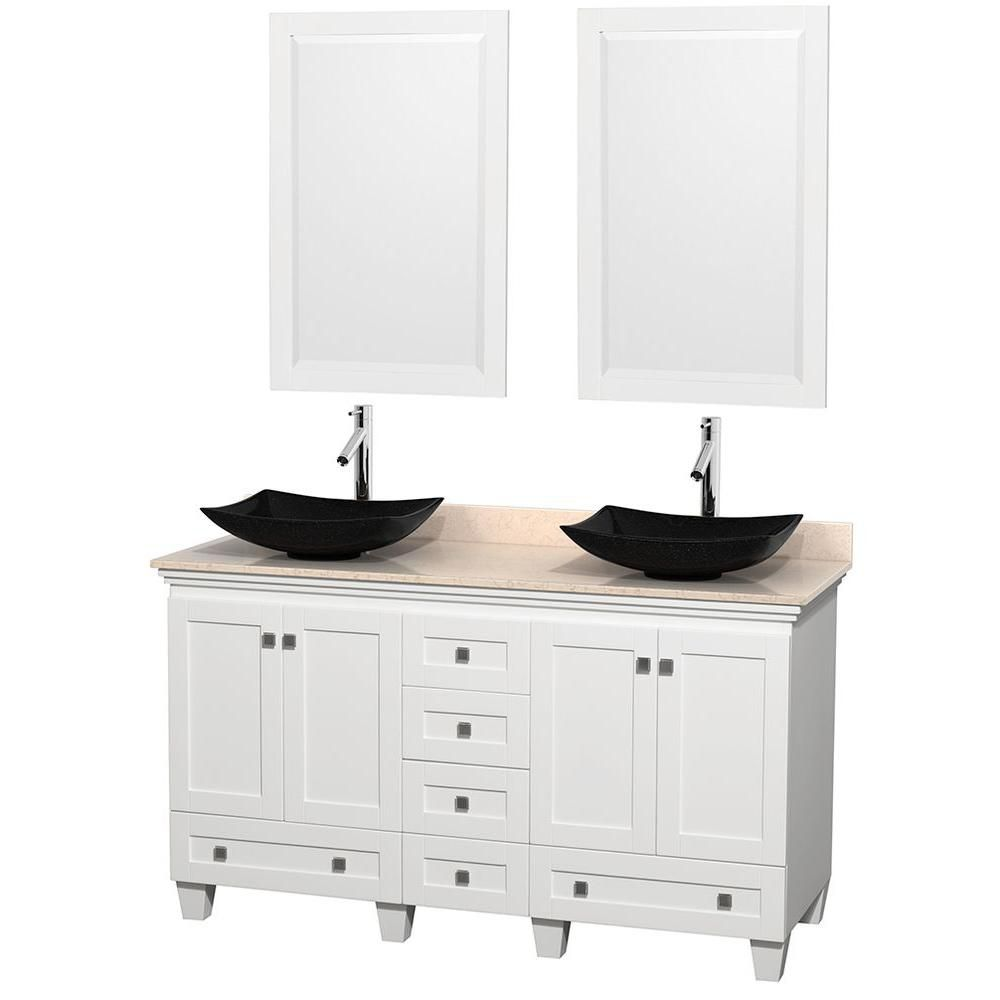 Acclaim 60-inch W Double Vanity in White with Top in Ivory, Black Sinks and Mirrors