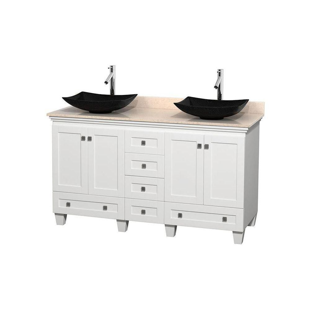 Acclaim 60-inch W Double Vanity in White with Top in Ivory and Black Sinks