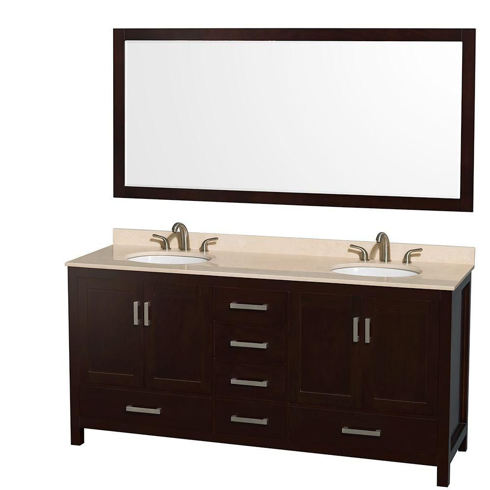 Sheffield 72-inch W Double Vanity in Espresso with Marble Top in Ivory and 70-inch Mirrors