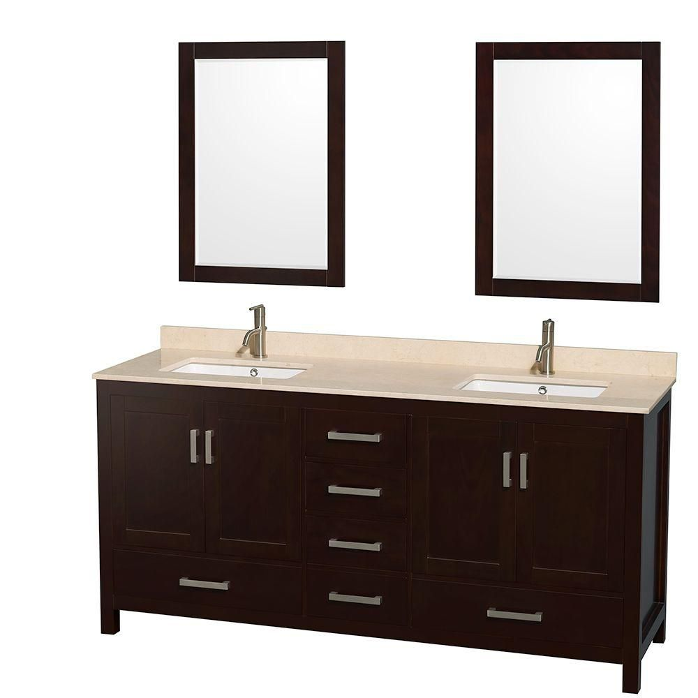 Sheffield 72-inch W Double Vanity in Espresso with Marble Top in Ivory and 24-inch Mirrors