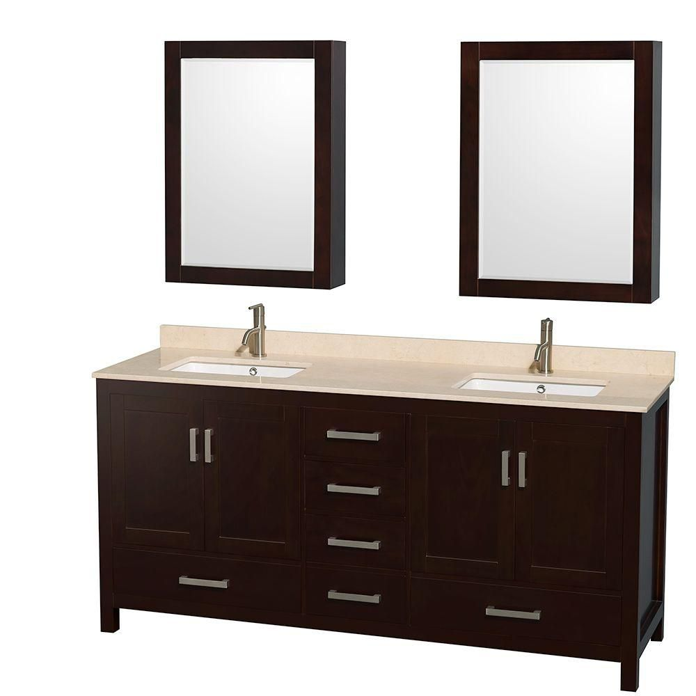 Sheffield 72-inch W Double Vanity in Espresso with Marble Top in Ivory and Medicine Cabinets