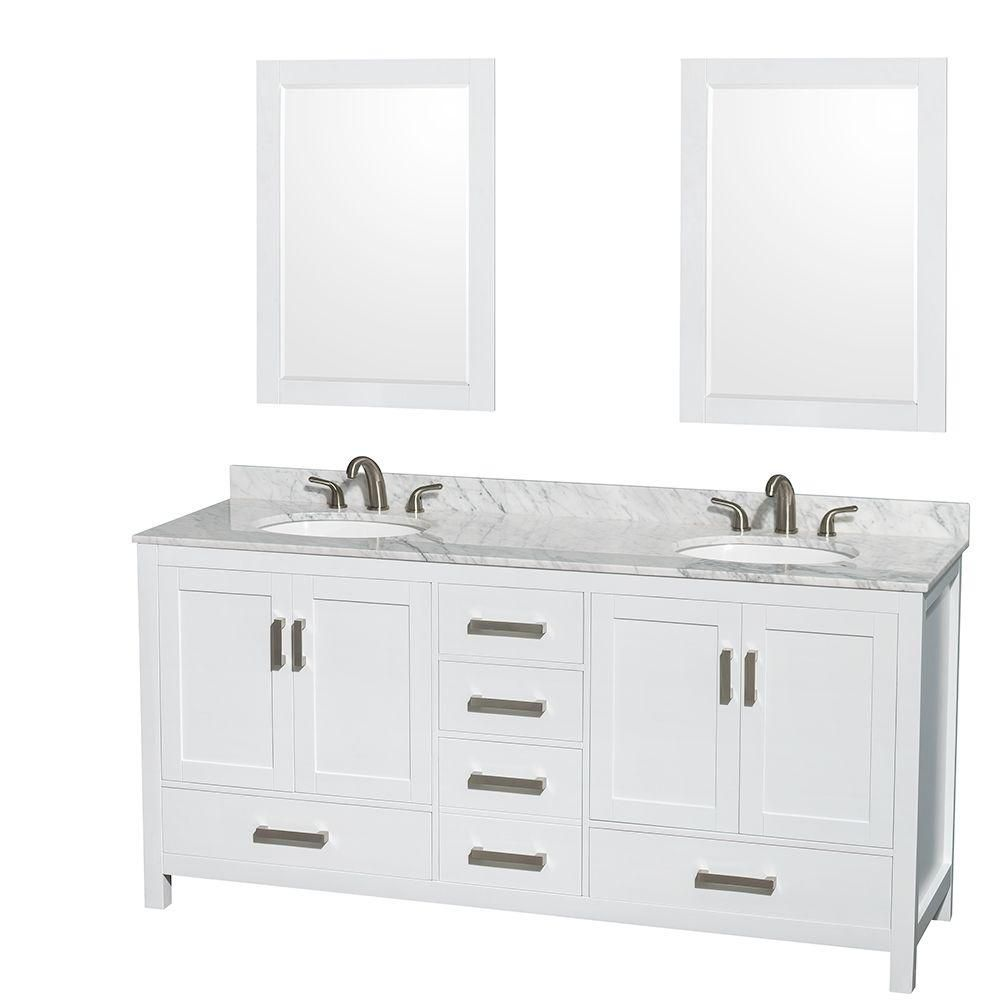 Sheffield 72-inch W Double Vanity in White with Marble Top in Carrara White and 24-inch Mirrors