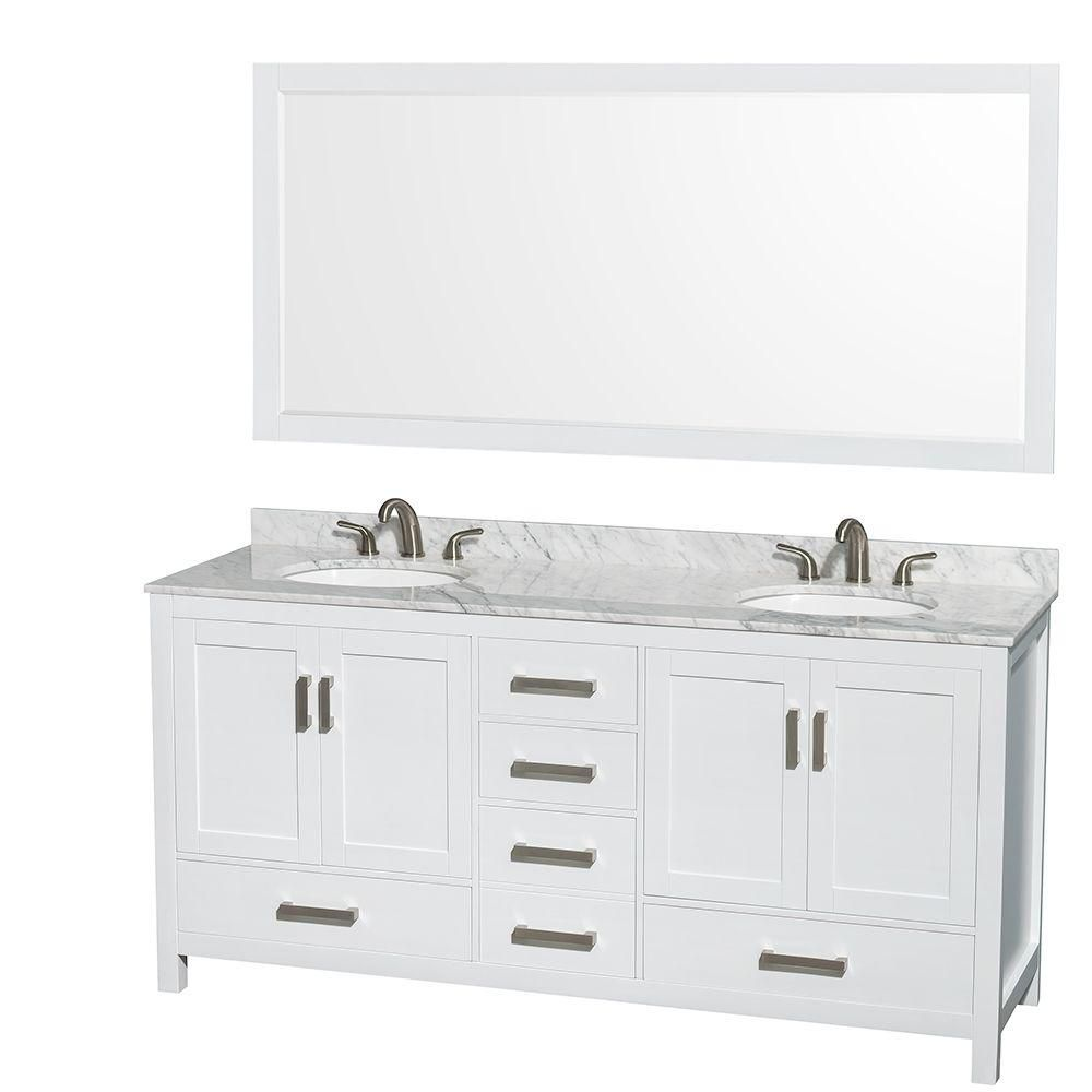Sheffield 72-inch W Double Vanity in White with Marble Top in Carrara White and 70-inch Mirror