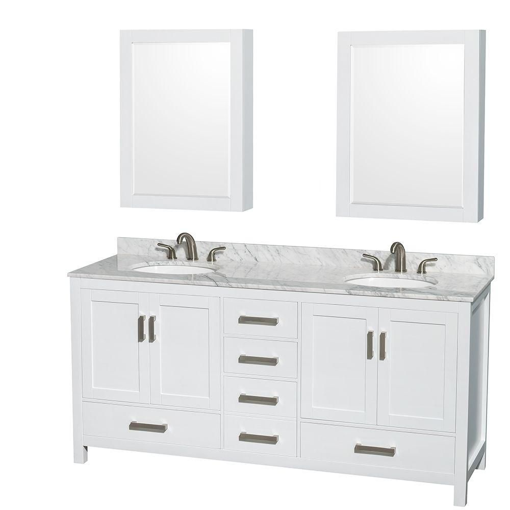 Sheffield 72-inch W Double Vanity in White with Marble Top in Carrara White and Medicine Cabinets