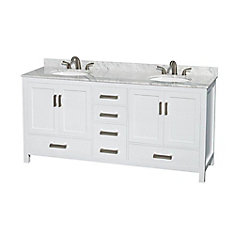 Sheffield 72-inch W 5-Drawer 4-Door Vanity in White With Marble Top in White, Double Basins