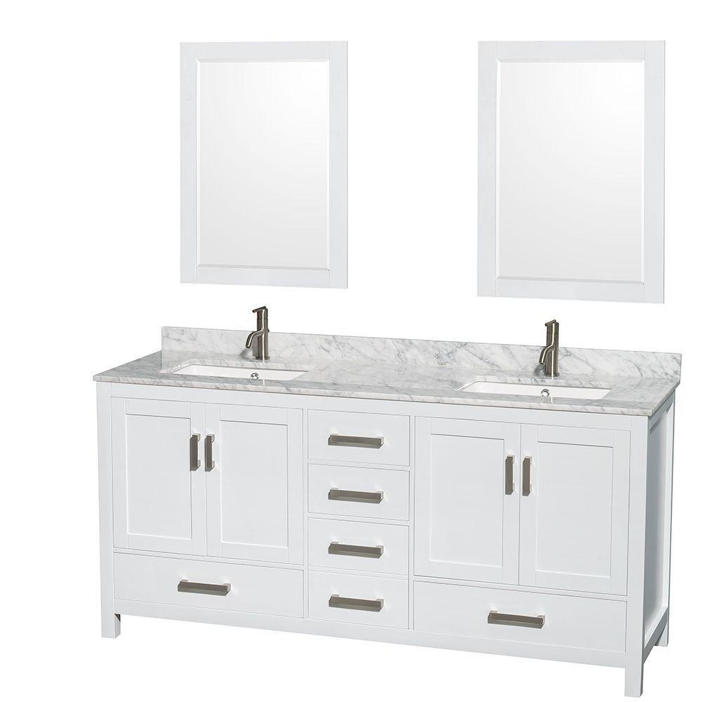 Sheffield 72 po Meuble blanc dbl. et revêt. en marbre blanc Carrare et de 61cm 24 po Miroirs