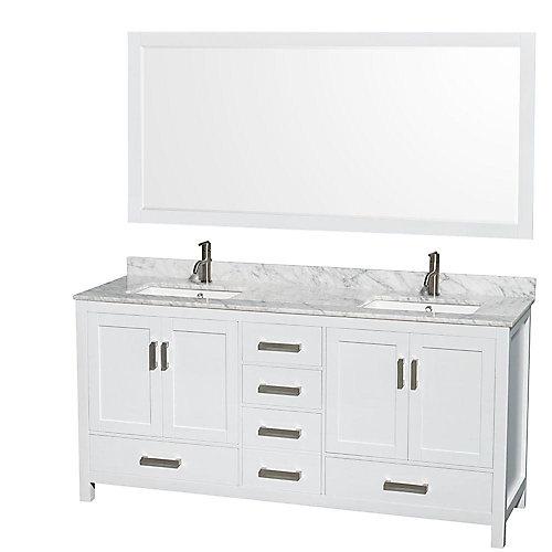 Sheffield 72 po Meuble blanc dbl. et revêt. en marbre blanc Carrare et de 177cm 70po Miroir