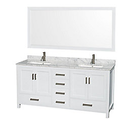 Sheffield 72-inch W 5-Drawer 4-Door Vanity in White With Marble Top in White, 2 Basins With Mirror