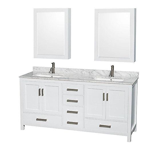 Sheffield 72 po Meuble blanc dbl. et revêtement en marbre blanc Carrare et espace de rangement