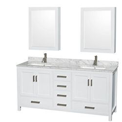 Wyndham Collection Sheffield 72-inch W 5-Drawer 4-Door Vanity in White With Marble Top in White, 2 Basins With Mirror