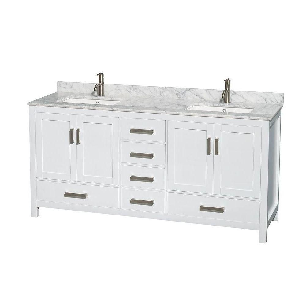 Sheffield 72-inch Double Vanity in White with Marble Vanity Top in Carrara White