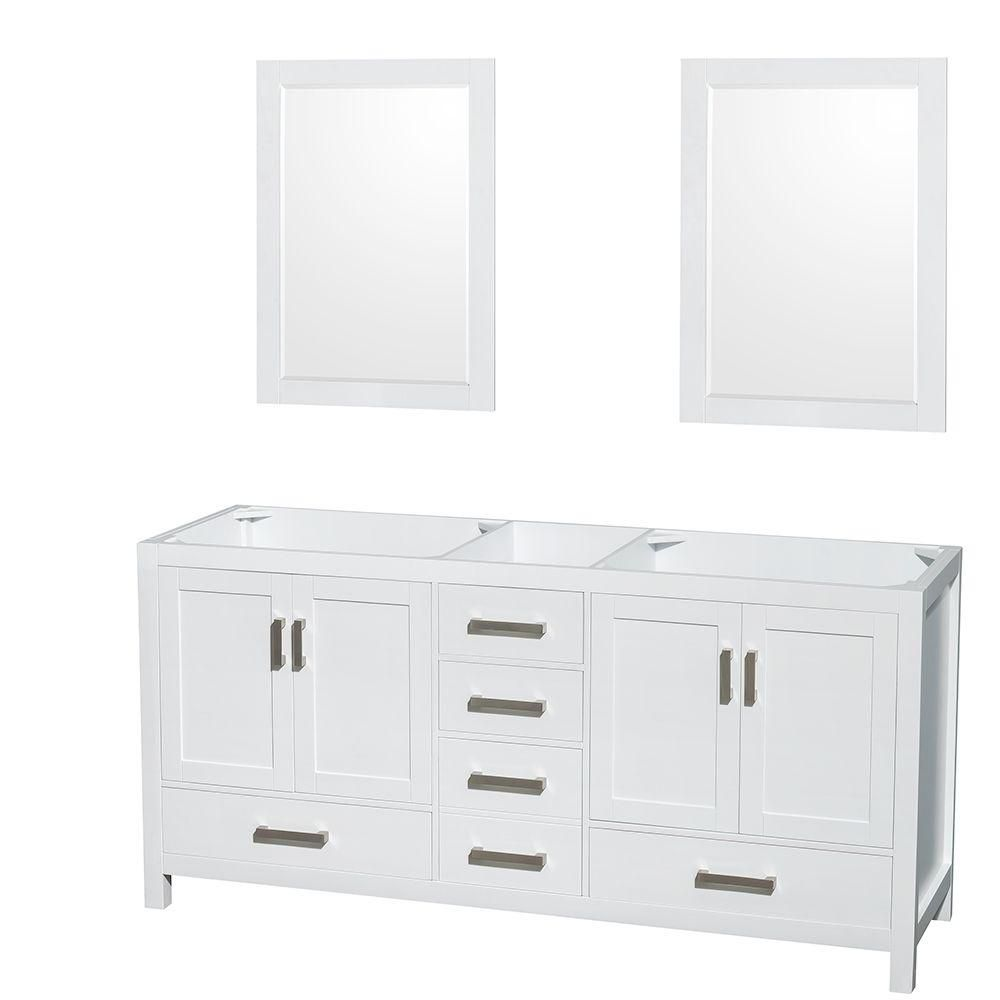 Sheffield 70-Inch  Double Vanity Cabinet with 24-Inch  Mirrors in White