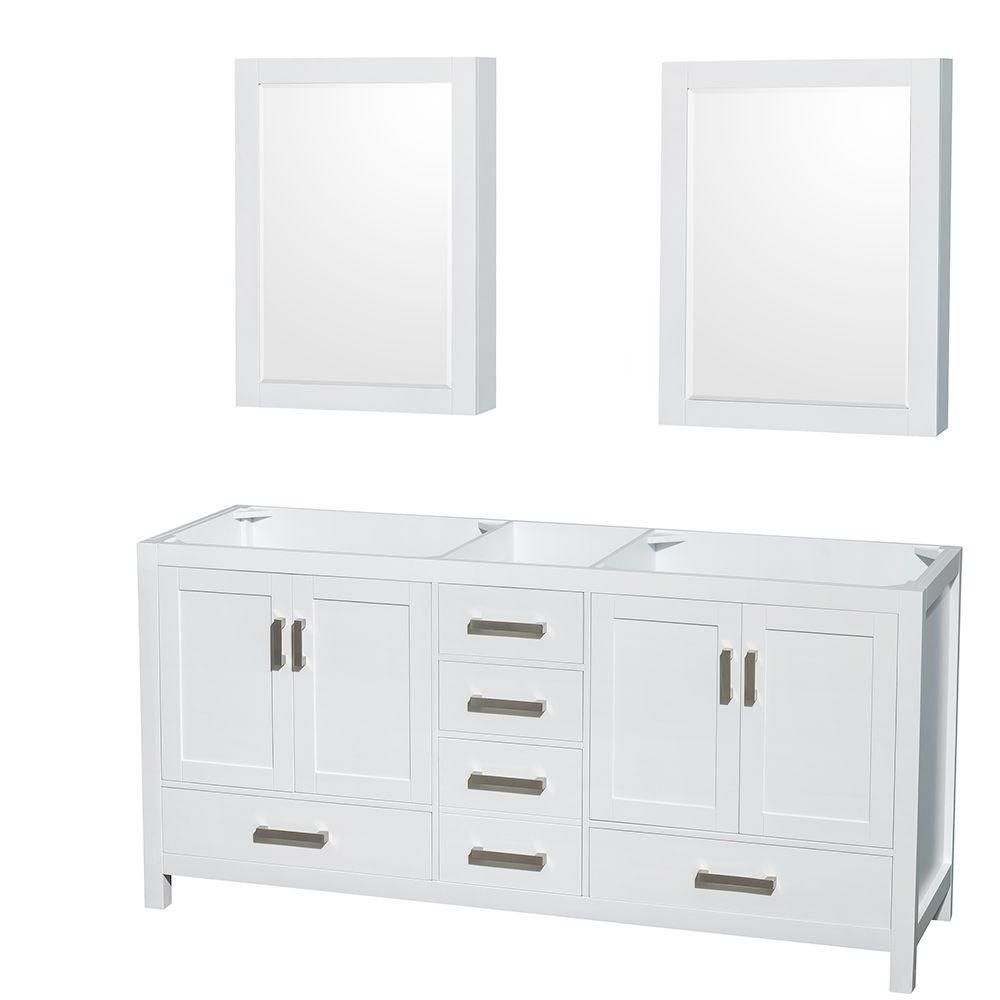 Wyndham Collection Sheffield 70 3/4-Inch  Double Vanity Cabinet with Mirror Medicine Cabinets in White