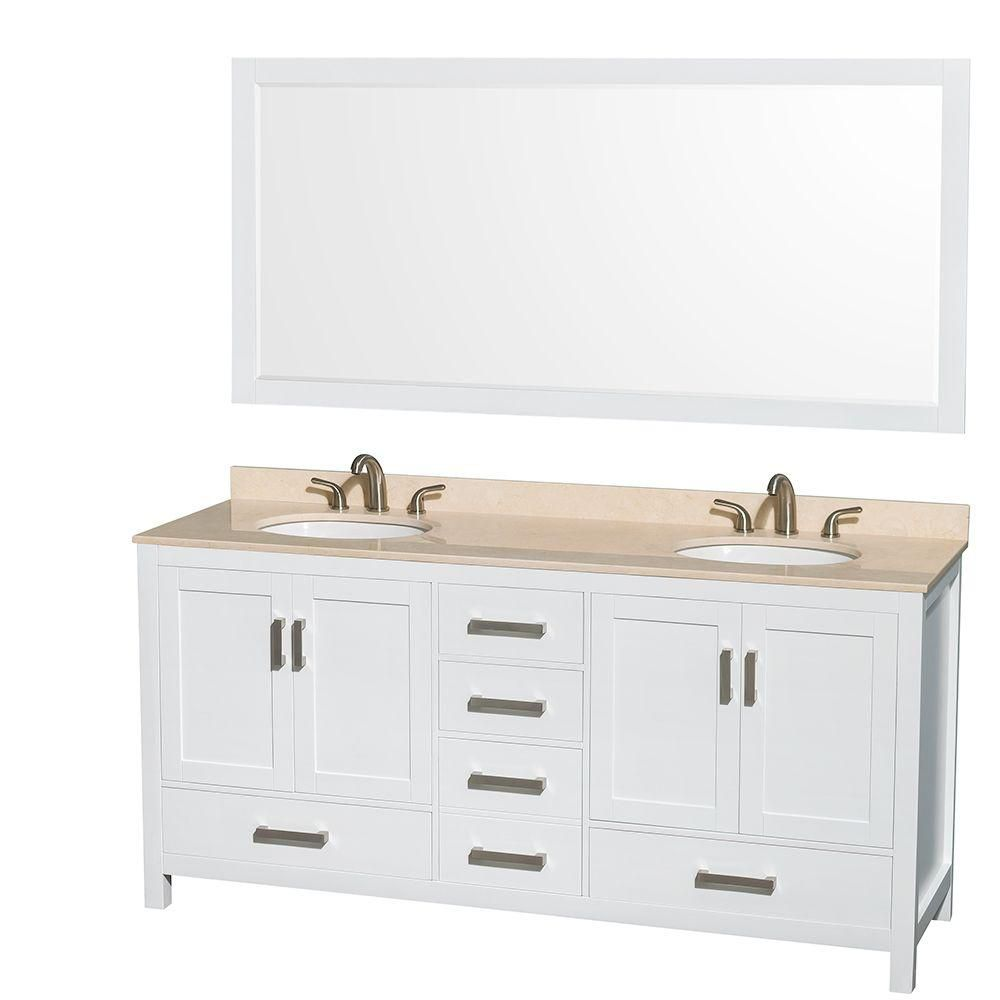 Sheffield 72-inch W Double Vanity in White with Marble Top in Ivory and 70-inch Mirror