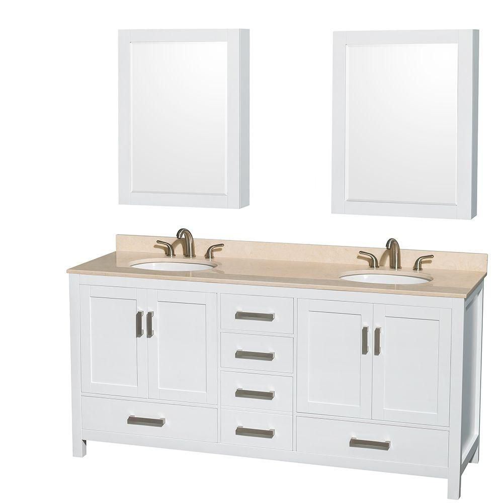 Wyndham Collection Sheffield 72-inch W 5-Drawer 4-Door Vanity in White With Marble Top in Beige Tan, Double Basins