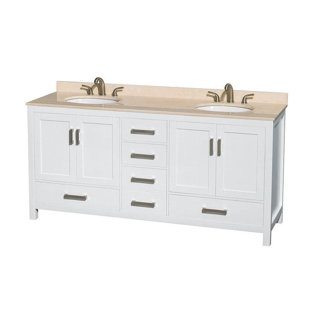 Sheffield 72-inch W Double Vanity in White with Marble Top in Ivory