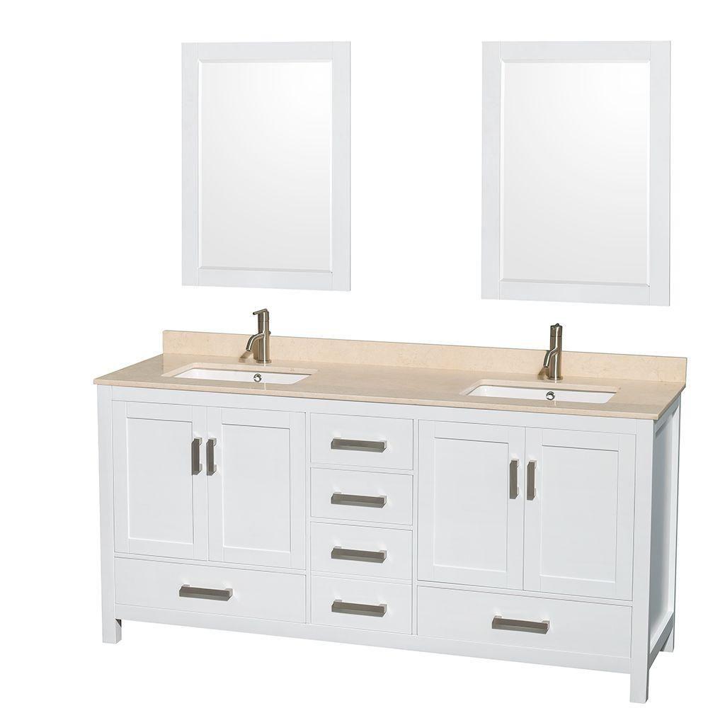 Sheffield 72 po Meuble blanc dbl. et revêt. en marbre ivoire, évier ovale et de 24po Miroirs
