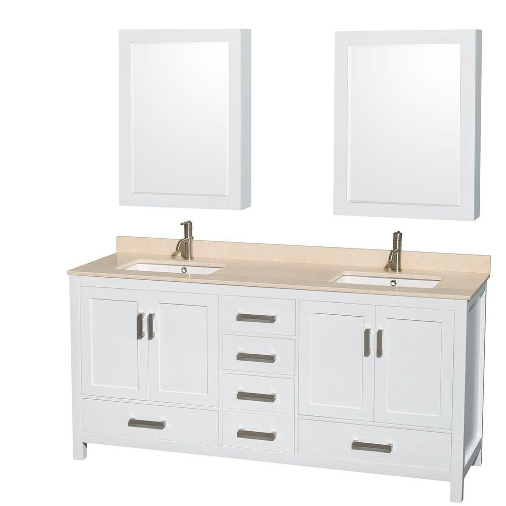 Sheffield 72-inch W Double Vanity in White with Marble Top in Ivory and Medicine Cabinets