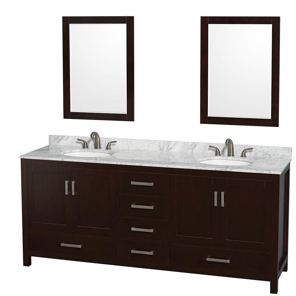 Sheffield 80-inch W 5-Drawer 4-Door Vanity in Brown With Marble Top in White, 2 Basins With Mirror