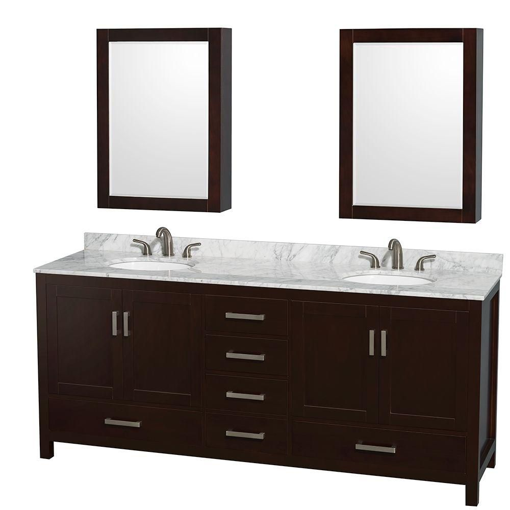 Sheffield 80-inch W Double Vanity in Espresso with Marble Top in Carrara White and Medicine Cabin...