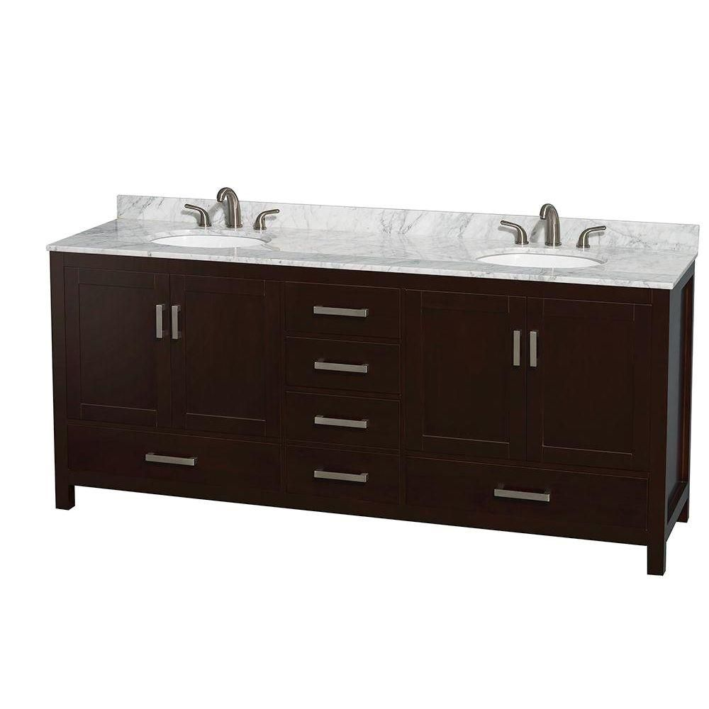 Sheffield 80-inch W 5-Drawer 4-Door Vanity in Brown With Marble Top in White, Double Basins